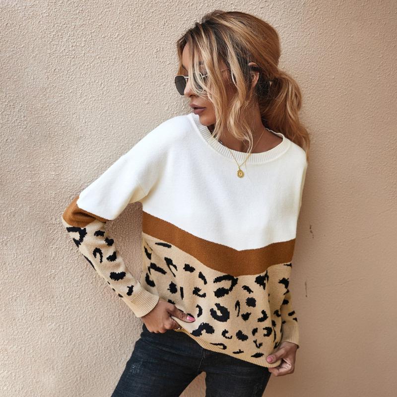 أزياء ليوبارد المرقعة الخريف الشتاء السيدات محبوك سترة المرأة س الرقبة كم كامل الأكمام البلوز البلوفرات أعلى الكاكي براون