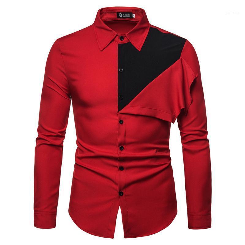 لون كتلة الرجال قميص طويل الأكمام الكورية نمط الرجال الكامل الأكمام قمصان ل 2020 واحدة الصدر الرجال اللباس قميص مكتب ارتداء 1