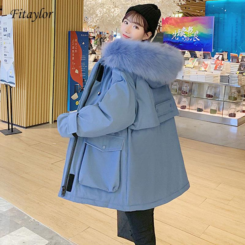 Fitaylor 2020 New Winter Women Long Parkas Large Fur Collar Thickness Warm Overcoat Cotton Padded Casual Female Hooded Outwear 1014