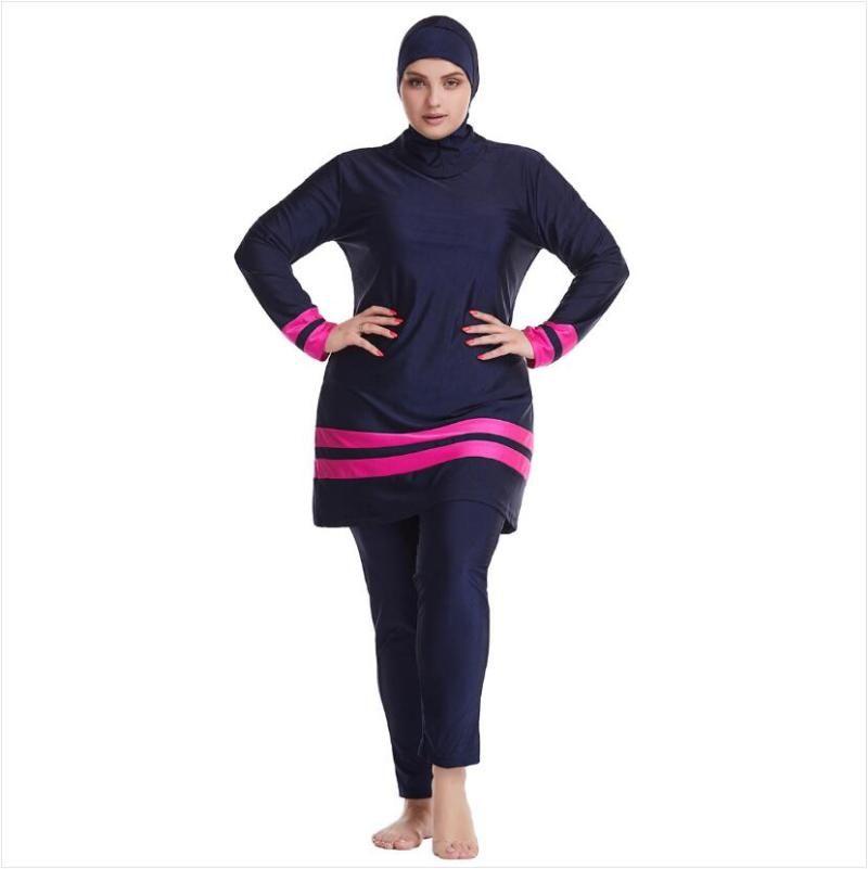 Abbigliamento etnico 3pc Hijab Costume da bagno Costume da bagno musulmano Vestiti da bagno donna Costumi da bagno islamici Plus Size Full Bathing Suits Donna Burkini Grandi taglie mod