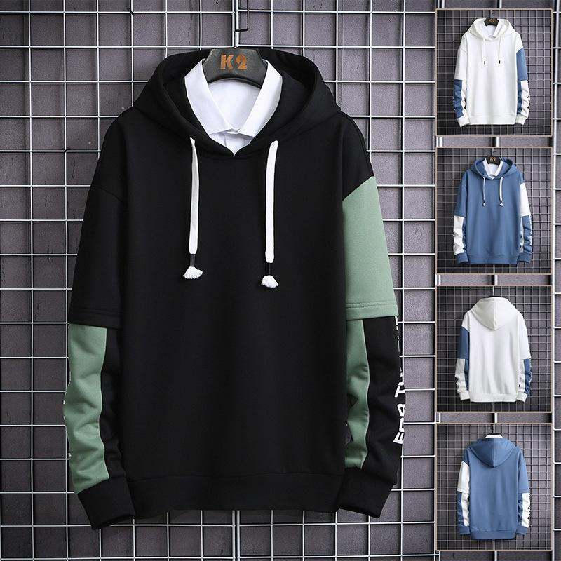 9o77 Long Sleeve Hoodies Natural Hoodies Mens Clothes Mens Fleece Hoodies Fashion Loose Pullover Color Casual O-Neck
