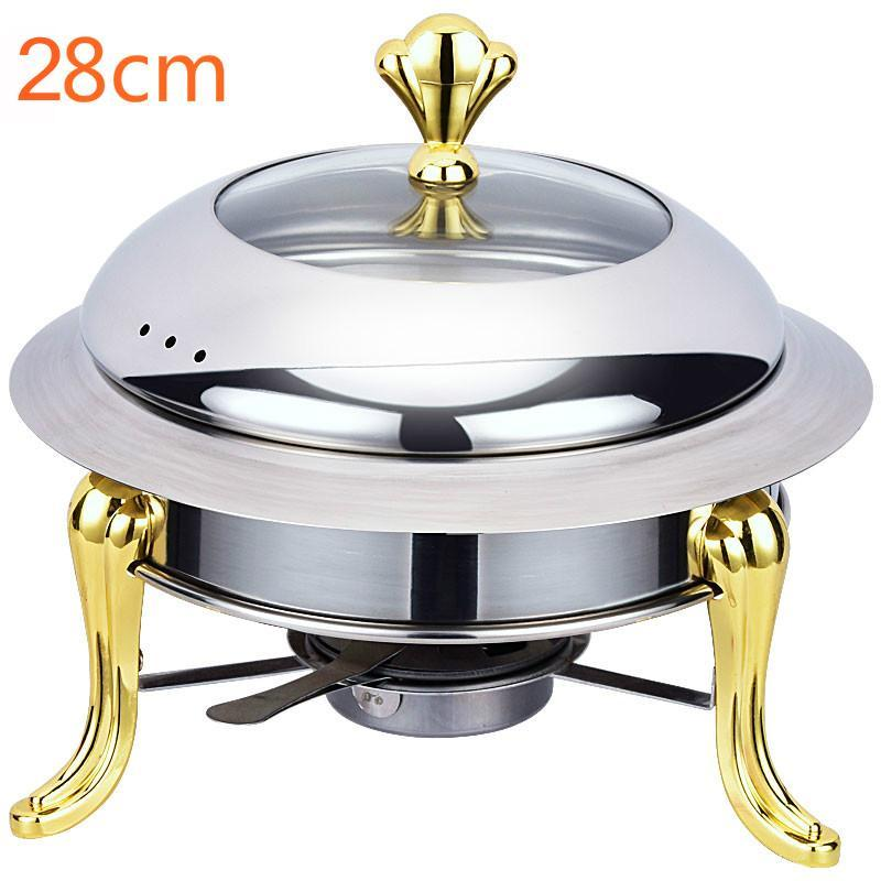 stainless steel hotpot set mini hotpot pot holder tempered glass lid 30cm gold silver Chafing Dish Buffet pan Tray Warmer