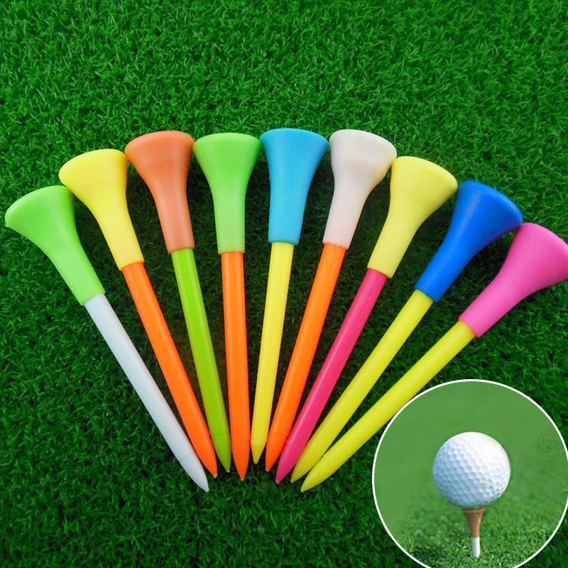 플라스틱 골프 티 멀티 컬러 8.3cm 내구성 고무 쿠션 탑 골프 티 골프 액세서리 무작위 색상