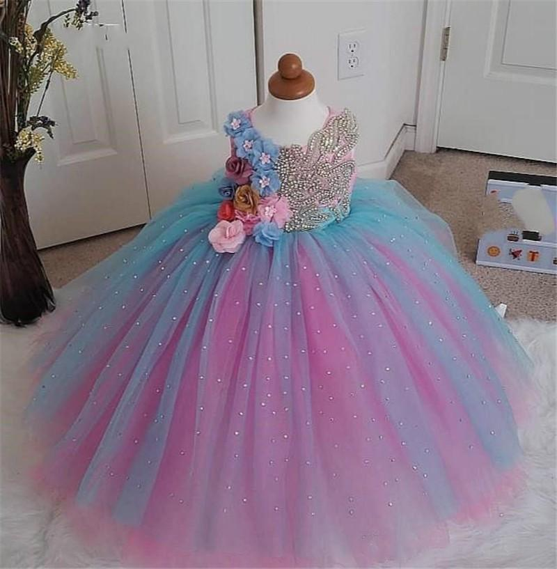 Pink Red Blue 3D Flowers Girls Pageant Dresses Luxurious Crystals Top Tulle Ball Gown Skirt Party Dress Pageant Mini Quinceanera Dress Kids