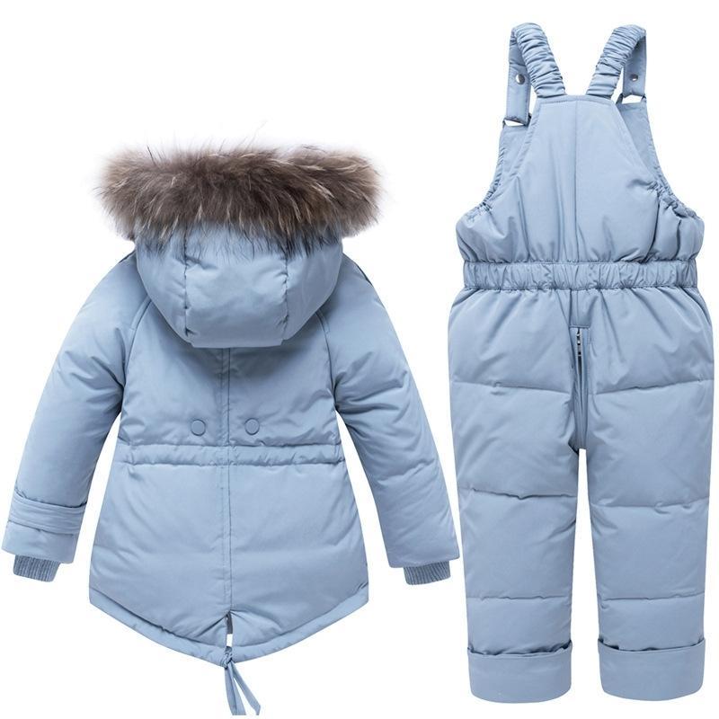 Kinder Winter Daunen Kleidung Sets Echt Pelzkragen Kinder Winter Daunenjacke Baby Mädchen Warme Overalls Kleinkind Jungen Daunenmantel 201031