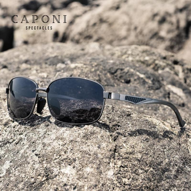 Haute cadre en aluminium Sun Sun pour Polarisée BS7755 Verres de qualité Square Lunettes de soleil Squaree Caponi Photochromic UV400 DPHMV