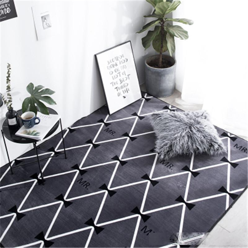 Modern Ins Fashion Super Soft Flannel Thicken Carpet Pad Bedside Blanket Sofa Doormat Parlor Floor Mat Anti-slip Rugs Home Decor
