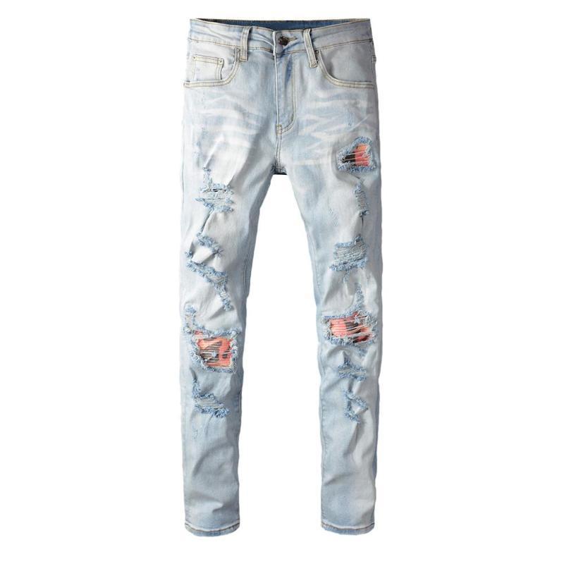 Pantalones Luz Marca Pantalones masculinos calle de la moda de los nuevos hombres de color personalizado Patch Hole Jeans para hombre de estiramiento Juvenil Medias Denim