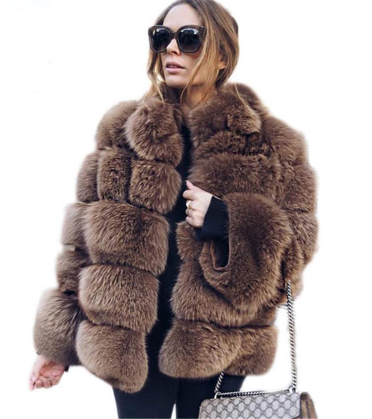 Designer Women Faux Fur Jackets Fashion Hooded Faux Fur Coat Long Sleeve Stitching Coat Hot Sell New klw5493