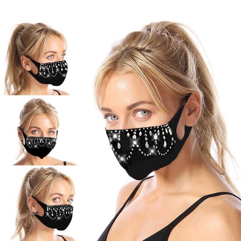 Творческий дизайнер маска для лица черный инкрустация кристалл взрослый масечер Солнцезащитные пылезащитные доказательства открытый рта маски ткани 7 11jy l2