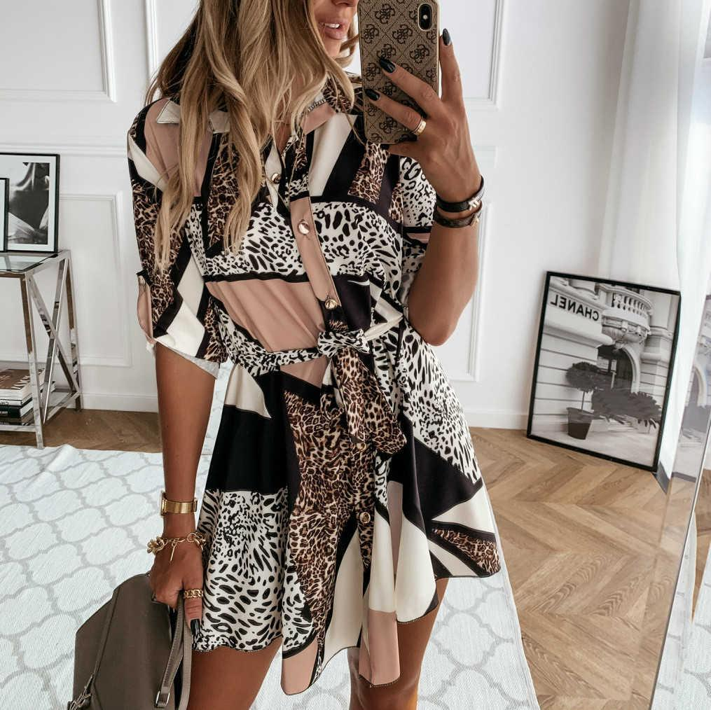 Fashion Autumn Women Leopard Printed Shirts Tie Waist Roll Up Sleeve Buttons Turn-down Collar Pleated