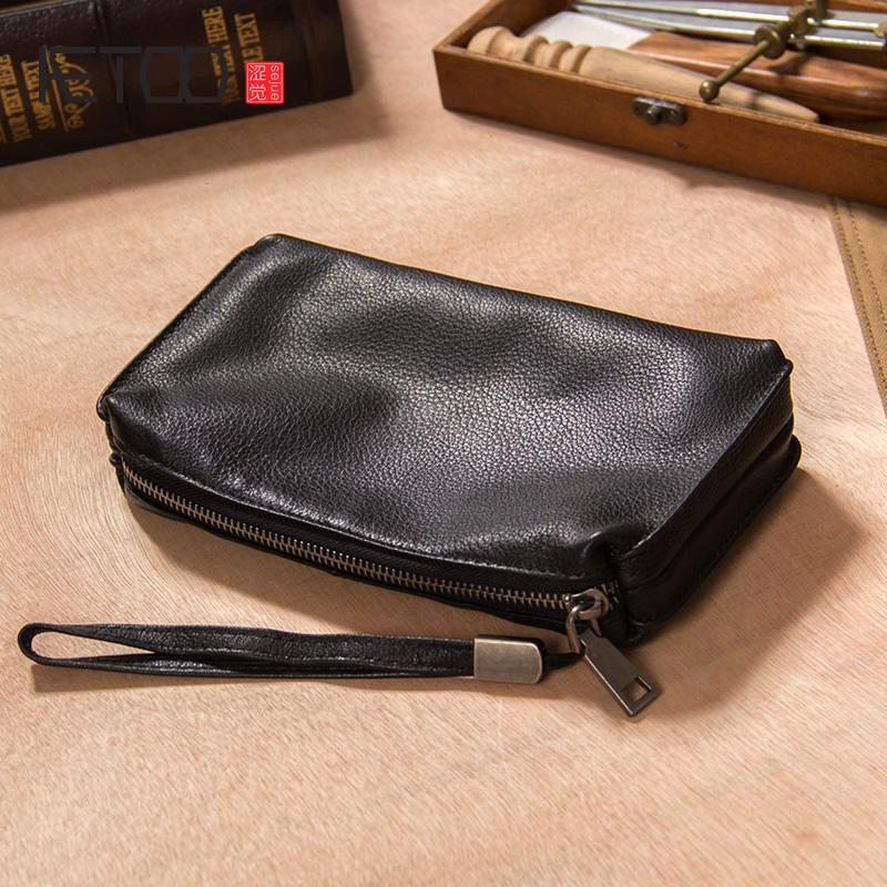 HBP Aetoo deri çanta, erkek fermuar yumuşak inek derisi cüzdan, geniş kapasiteli cep telefonu çantası, el çantası