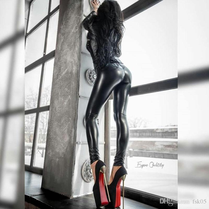 Женщины Леггинсы Сексуальная высокая талия толчок тощая искусственная кожаная лодыжка длина лодыжки Леггинс легинс мохеров черный легинги плюс размер кг-315