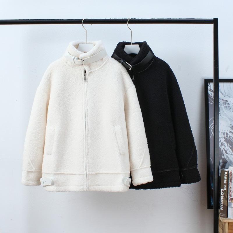 Nouveau Style Cachemire manteau pour femmes en automne et hiver 2021 Épaissie Contraste Couleur Broderie Lettres Lâche manteau d'hiver Femmes J0112