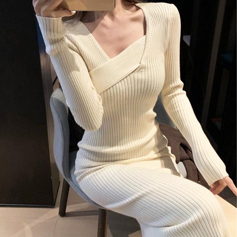 Donne vintage Donne a maniche lunghe maglione elegante festa femmina autunno 2020 ufficio signora sottile vestito un pezzo sottile coreano Q1229