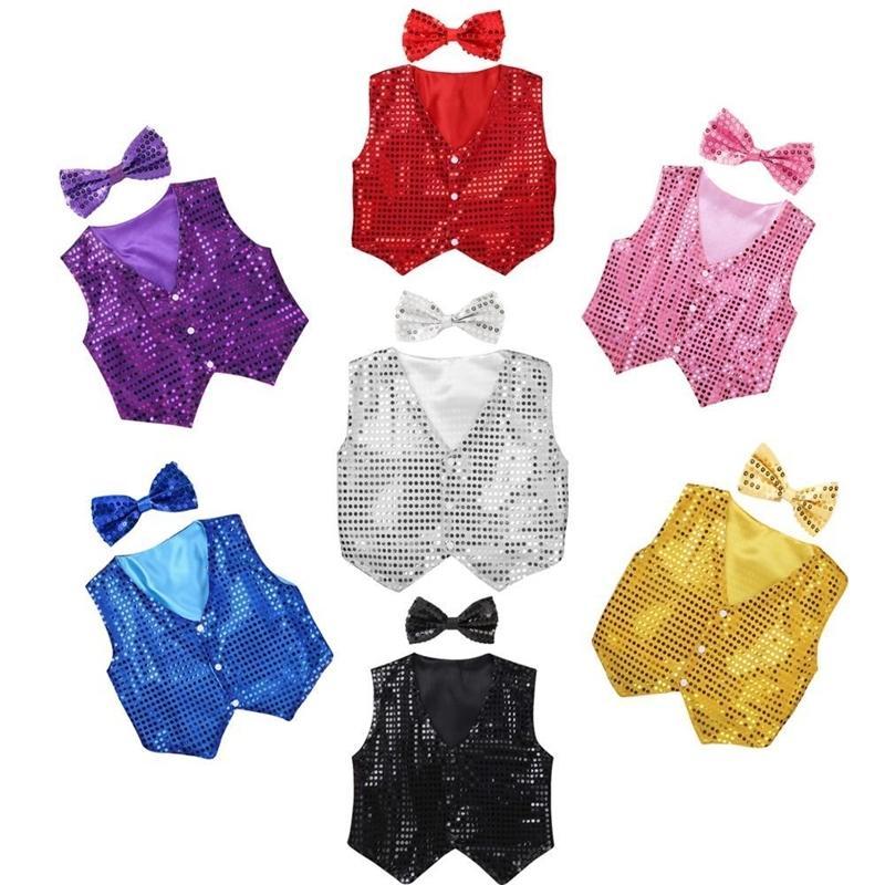 Meninos meninas jazz dancewear colete bowknot conjunto crianças glitter roupas cor coro traje childrens hip-hop jazz dança lantejoulas colete y200325