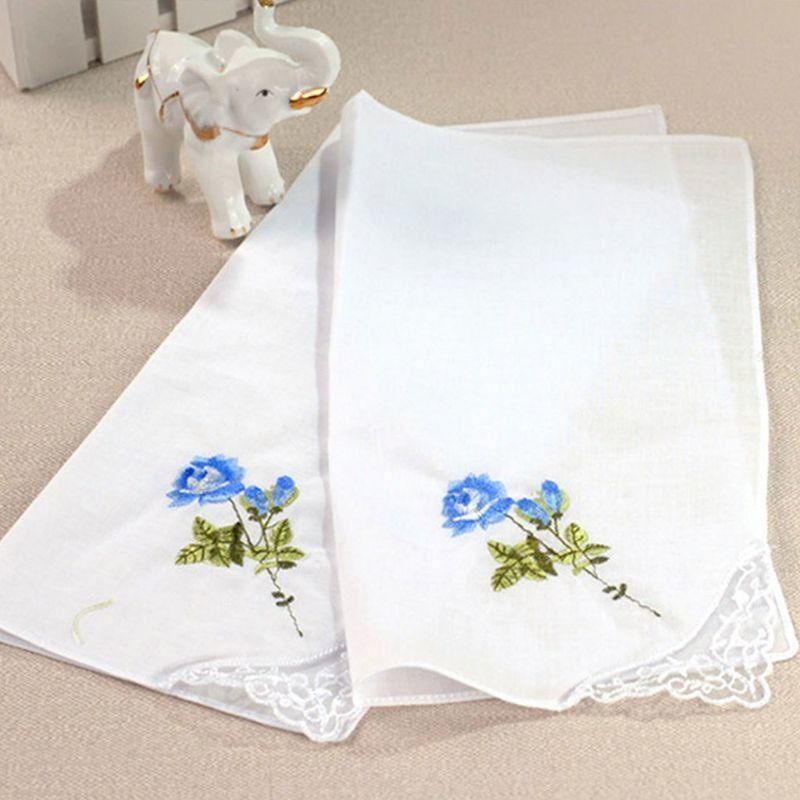 3pcs / set 29x29cm Frauen Platz Handkerchief gestickten Blumen Süßigkeit-Farben-Tasche Hanky Spitze Patchwork-Baumwollbabylätzchen Tragbarer