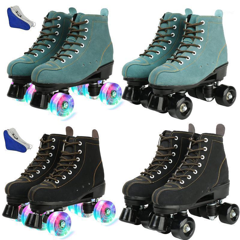 YYW Girls Europe Size Flashing Women PU Leather Adult Kids Quad Roller Skates Skating Sliding Sneakers 4 wheels Training Gym1