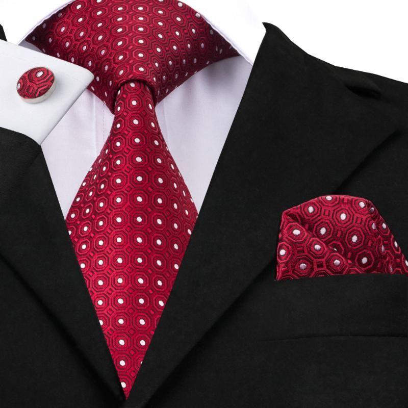 رجل العلاقات أحمر أبيض نقطة التعادل المنديل أزرار أكمام تعيين 100٪ الحرير الجاكار العلاقات للرجال الأعمال حفل زفاف هدايا الرجال التعادل SN-1018