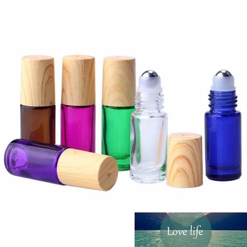 5ml rouleau coloré Portable sur les bouteilles en verre Huile essentielle de bouteille de parfum avec la boule de rouleau métal, Vide récipient cosmétique