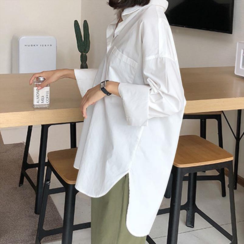 Mode Frauen Langarm Blusen Hemden Buttons Split Lose Unregelmäßige Tops Blusas Femininas Plus Größe Camisa