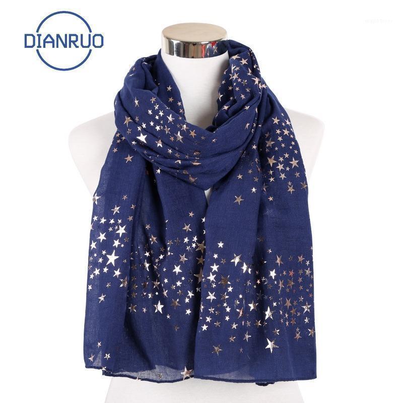 DiIonruo 2020 Neue fünf spitzer Sternschal Sky Star Druckmuster Gilt Schal Dünnschal Muslim Hijab Dianruo Q3261