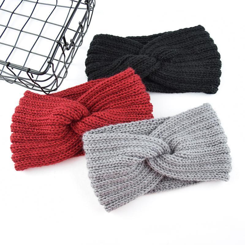 Colore solido di lana a crochet fascia di tessitura a mano fai da te Croce Hairband di modo comodo caldo Accessori per capelli