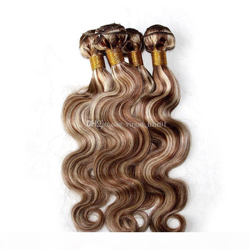 Piano color mixto, la armadura del pelo de lotes onda del cuerpo de dos tonos # 8 613 Resalte Brown Rubia Color de la Virgen extensiones de cabello humano