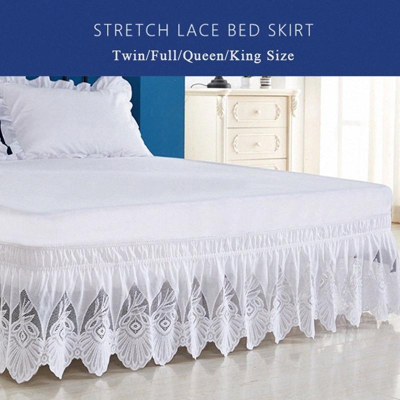 Enipate Volantes de encaje color puro falda de la cama elástica de alta calidad suelta cama delantal falda gemelo completa reina extragrande decoración eZwl #