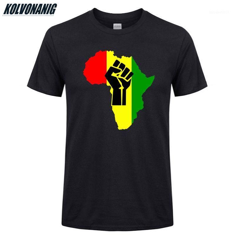 T-shirts 2021 verano O-cuello de manga corta Algodón Camiseta de los hombres de la manga corta Power Africa Mapa FIST Africano Impresión divertida más Tops Tops TEE1