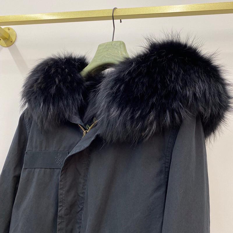 Parka de coton surdimensionnée des femmes enrichie par la garniture de fourrure de Murmasky sur la capuche et la garniture de renard doublure pleine garniture Noir Long Parka