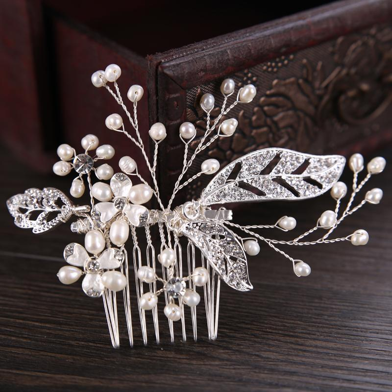 Süßwasserperlenbraut Haarkämme für Hochzeit Strass Blume Blatt Kopfschmuck Handgemachte Haarkämme