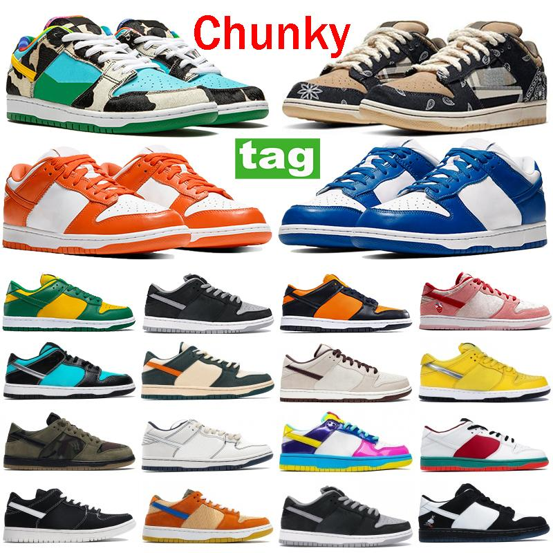 New Dunk Plat-Form Shoes Chunky Dunky Travis Scotts Tiey Dye Black Blanco Varsity Royal Shadow Fashion Hombres Zapatos Pino Verde Mujer zapatillas de deporte