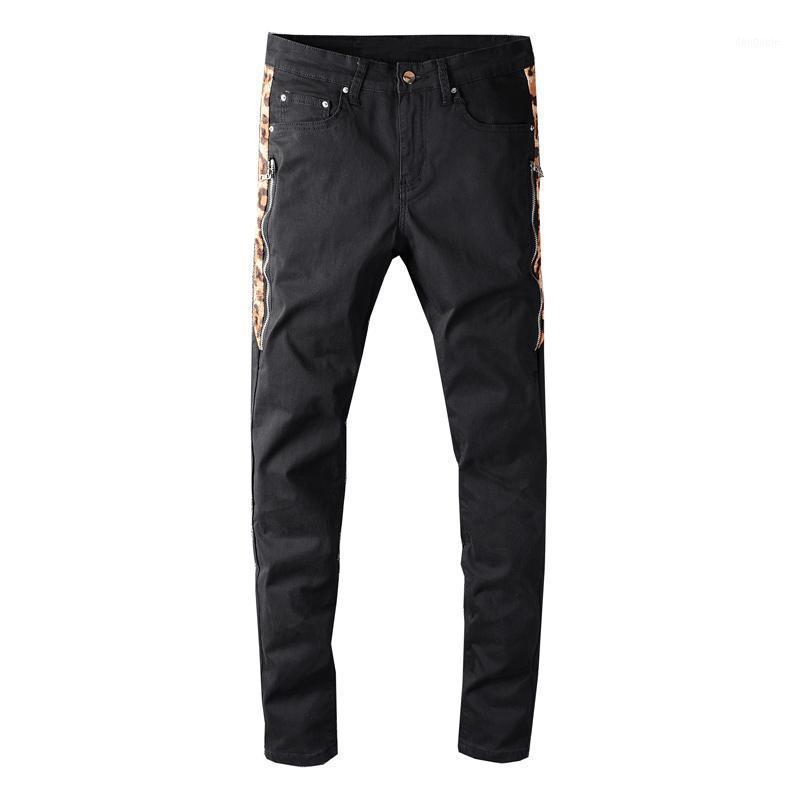 Мужские джинсы 2021 Streetwea Men Black Color Slim Fit Scipster Sprised Latchwork Designer Высококачественный хип-хоп Homme1