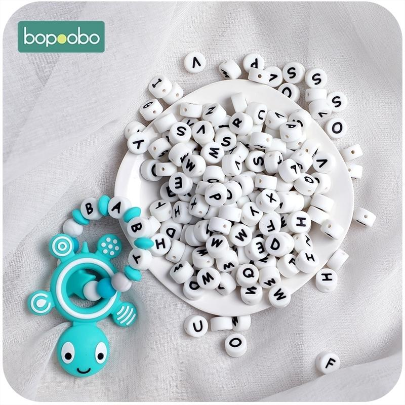 Bopoobo 100pc Silicone English Alphabet Beads Letter BPA Free Food Grade Material For DIY Baby Teething Necklace Baby Teether 201123