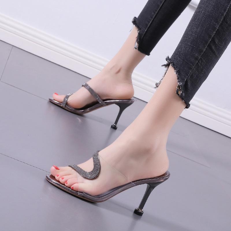 2021 летняя мода кристалл алмазные слайды прозрачные ПВХ прозрачные тапочки женские туфли Peep Toe High каблуки мулы платье насосы