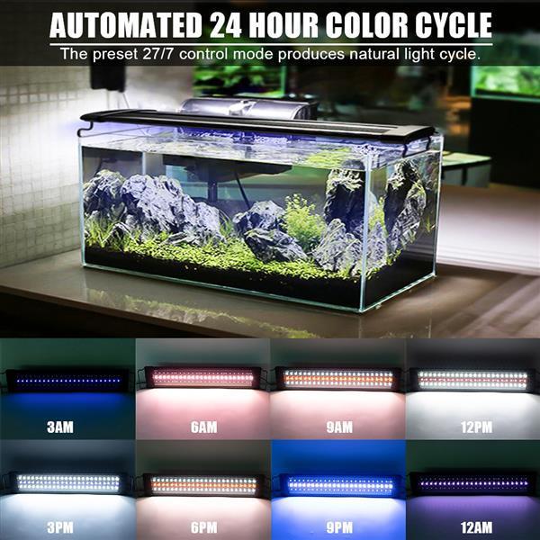 Venta caliente 25W 108LED Lámpara de hierba solar con control remoto 28.54 pulgadas Adecuado para 28.54-42.32inch Light Aquarium Black Aquarium Lights