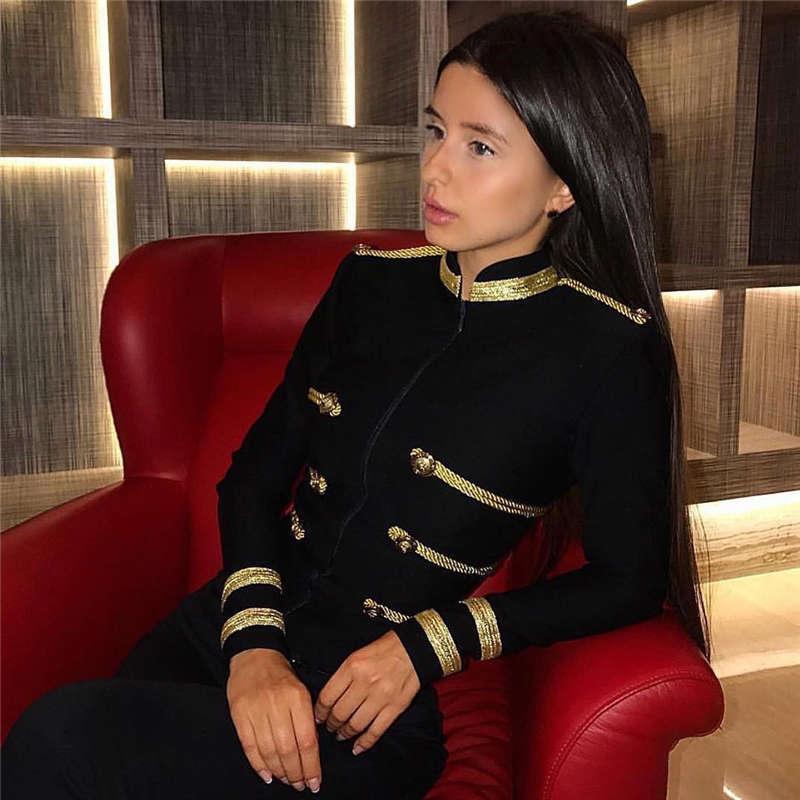 새로운 겨울 여성 패션 슬림 붕대 트렌치 코트 섹시한 블랙 전면 지퍼 연예인 파티 코트 긴 소매 클럽 코트