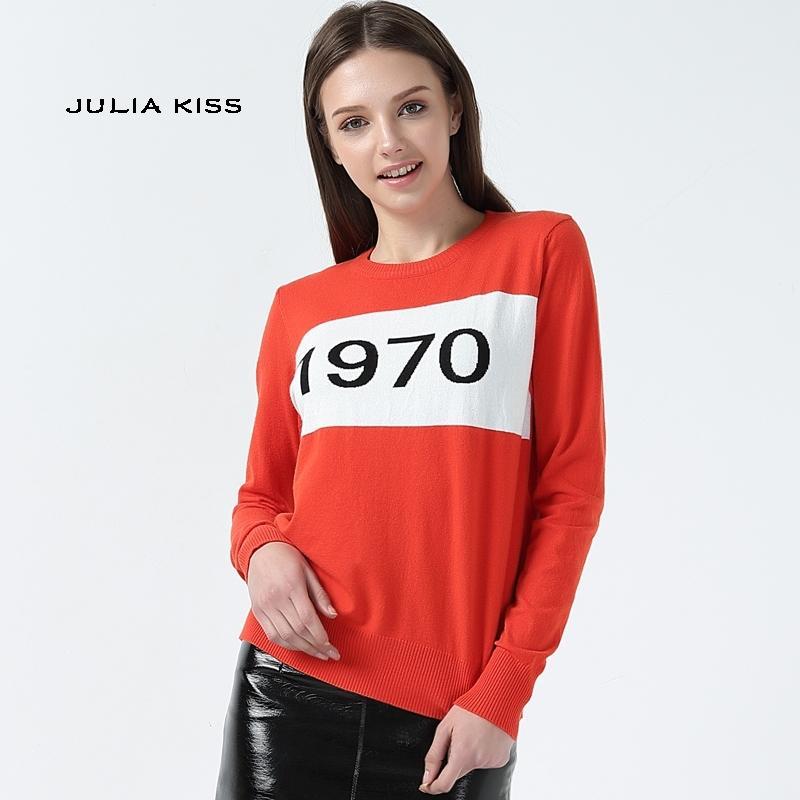 Mujeres 1970 letra jersey de manga larga suéter de moda caliente de la estrella de la estrella de la estrella 1970 Tops de tejer Y200116