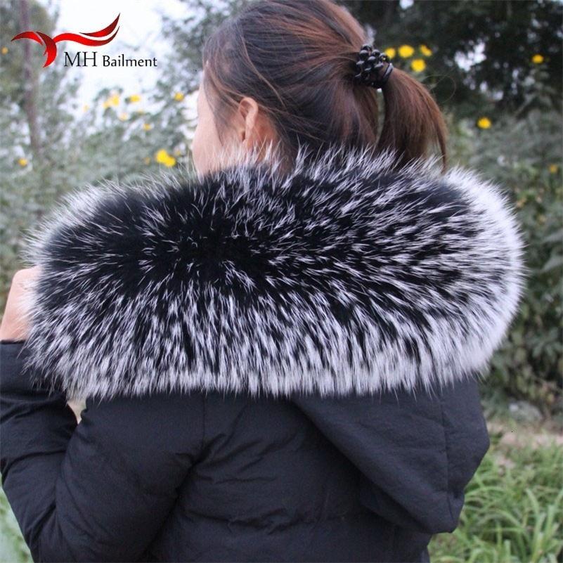 Collar de Invierno New Real piel del mapache caliente peludo cómodo capa de las señoras del mantón de la bufanda de gran tamaño Mujer Y201007
