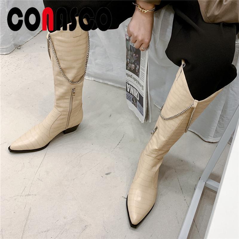 CONASCO Mode Femmes genou haute Bottes Automne Hiver Gros talons Chaussures Femme chaîne cool en cuir véritable occidental Bottes long