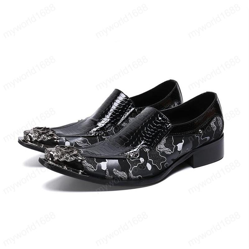Мужчины платье обувь партии из натуральной кожи Свадебной обуви острых носа металл ноги Мужчина Квартира Мода Люкс полуботинок Формальной обувь