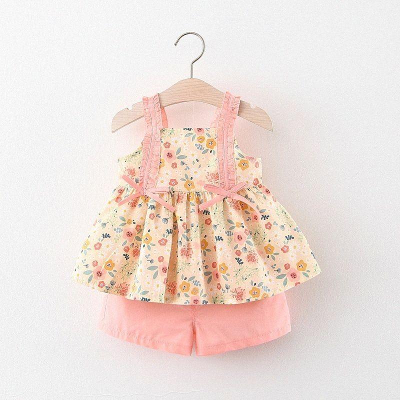 2020 2020 Verão New Baby Girl doce Dungaree Floral shirt + Shorts terno Meninas Princesa Bow Set bebê caçoa a menina Panos QEyU #