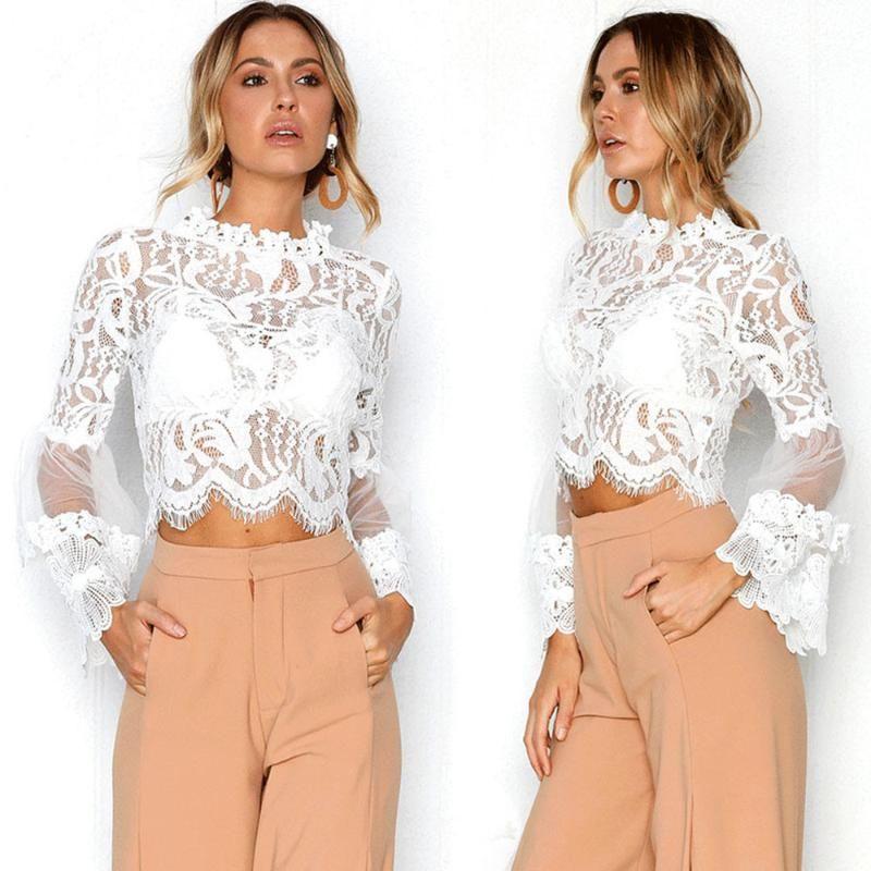 Mode Sexy évider shirt dentelle Chemisier femme élégante manches Flare Été Automne Blouses Femme Casual manches longues Hauts Blusas
