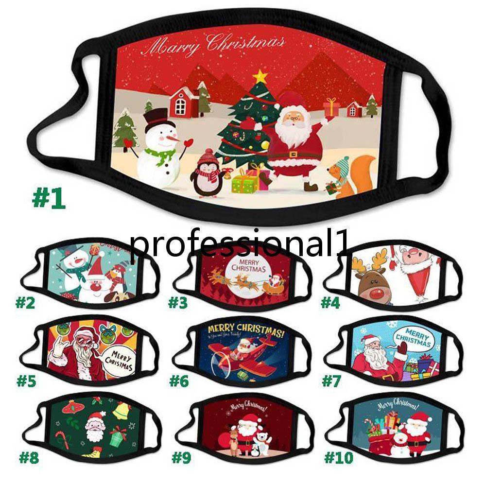 2021 Merry Christmas Printing Mask Face Mask Happy Festival Copertura antipolvere riutilizzabile lavabile santa pupazzo di neve Deer Merry Christmas Masks