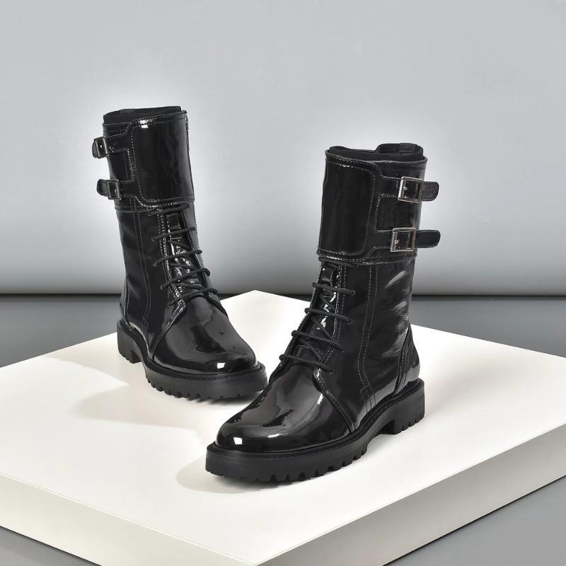 Натуральная кожа Пряжка Combat Boots для женщин Обувь Узелок Botas Militares Мода Мотоцикл BootFlats Bottines Femmes Байкер