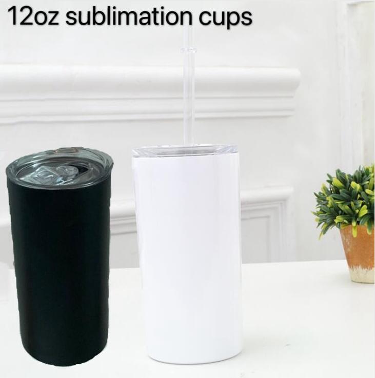 Paslanmaz çelik içme bardağı vakum 12 oz kapak samanla Sublime Skinny Tumblers 12oz siyah beyaz sıska fincan Kupa LXL1470 yalıtımlı