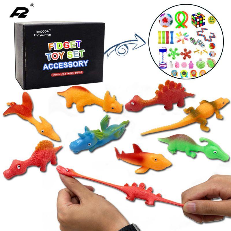 투석기 손가락 공룡 소프트 장난감 신축성 안티 스트레스 안절부절 압박 시뮬레이션 동물 장난감의 경우 성인 어린이 선물