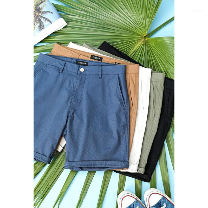 Мужские шорты Simwood 2021 летний фермент промытые мужчины классические колена длина сплошных цветных брюк высокого качества плюс размер SJ1303591