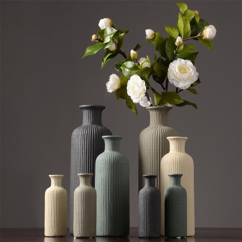 Европа керамическая ваза полоса ремесла мебель северное украшение домашнего дома высушенные ваза дома украшения дома современный LJ201209